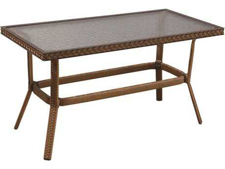 Suncoast Kona Wicker Rectangular Glass Coffee Table