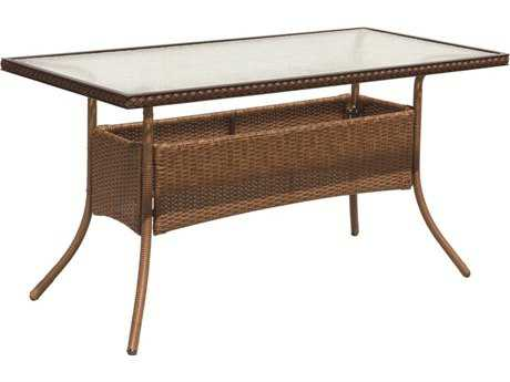 Suncoast Kona Wicker 54'' x 27'' Rectangular Glass Dining Table