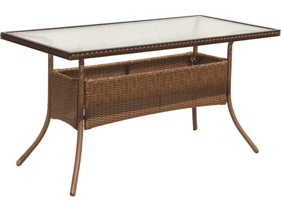 Suncoast Kona Wicker 54 X 27 Rectangular Glass Dining
