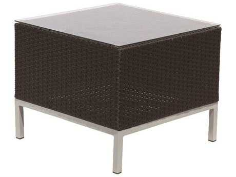 Suncoast Avenir Wicker 23 Square Glass End Table