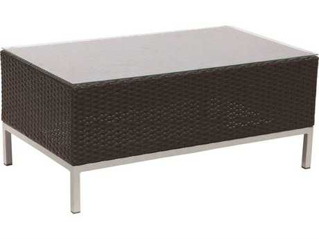 Suncoast Avenir Wicker 40 x 23 Rectangular Glass Coffee Table