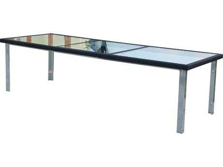 Suncoast Avenir Wicker 110 x 40 Rectangular Glass Dining Table