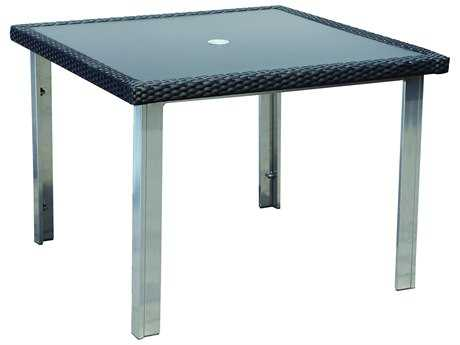Suncoast Avenir Wicker 40 Square Glass Dining Table