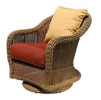 Suncoast Monaco Wicker Cushion Arm Swivel Dining Chair