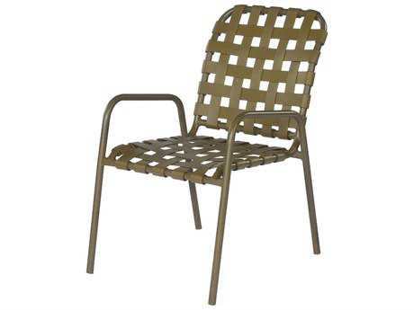 Suncoast Sanibel Cross Strap Cast Aluminum Arm Stackable Dining Chair