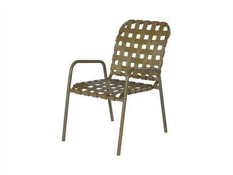Suncoast Sanibel Cross Strap Cast Aluminum Arm Stackable Dining Chair