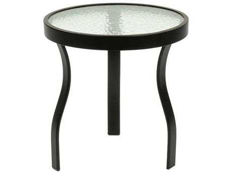 Suncoast Cast Aluminum 18'' Round Glass Top End Table PatioLiving