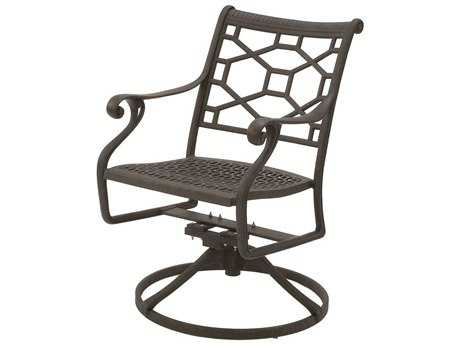Suncoast Presidio Cast Aluminum Metal Arm Swivel Rocker Dining Chair