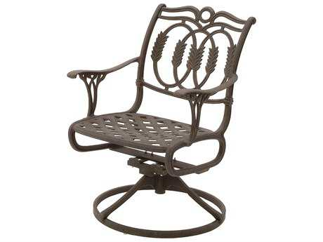 Suncoast Olympia Cast Aluminum Metal Arm Swivel Rocker Dining Chair