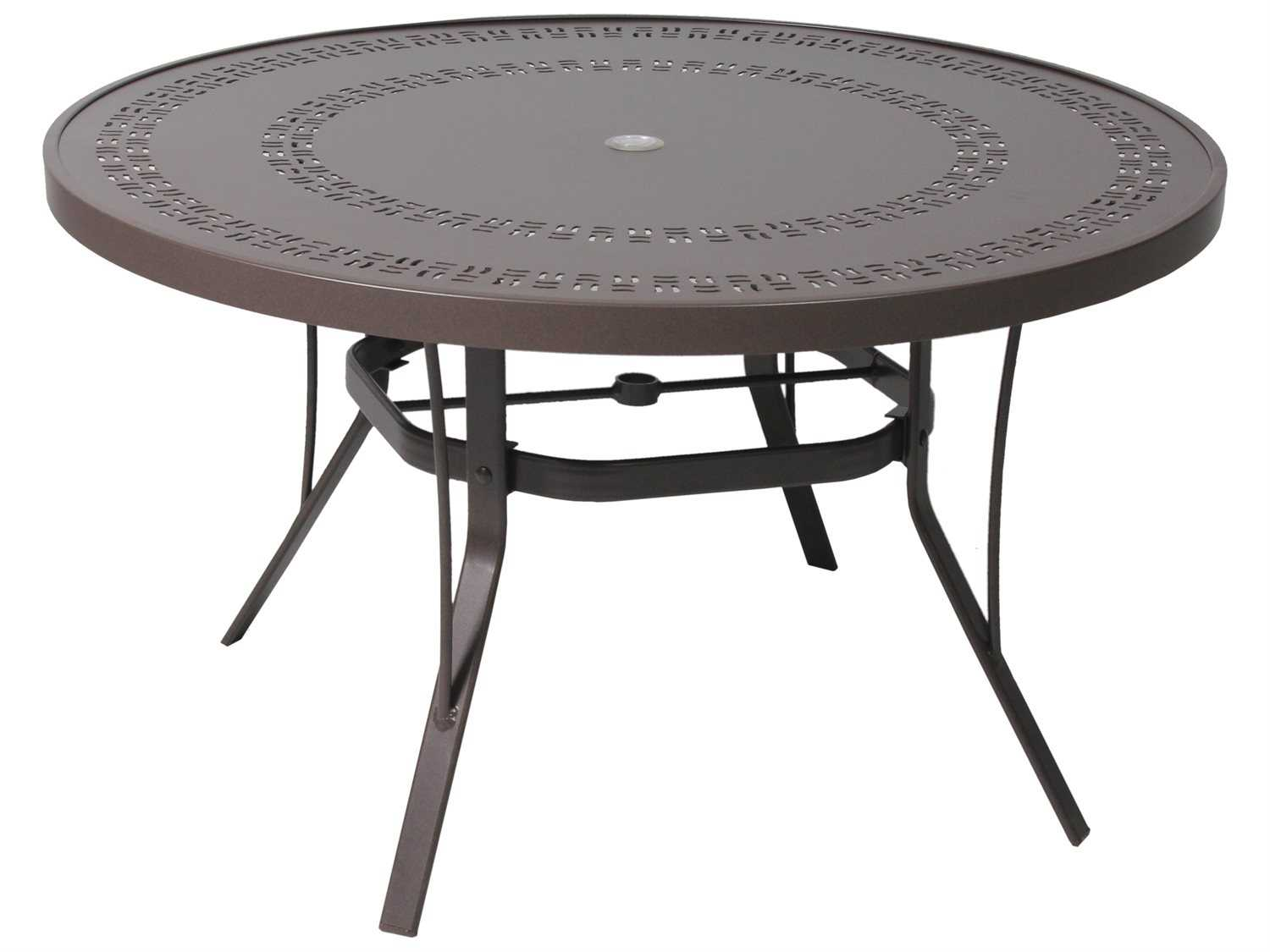 Suncoast patterned square aluminum 42 round metal coffee table suncoast patterned square aluminum 42 round metal coffee table with umbrella hole geotapseo Image collections