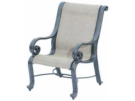 Suncoast San Marco Sling Cast Aluminum Arm High Back Dining Chair