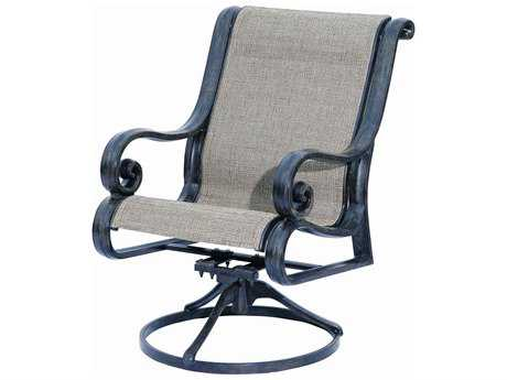 Suncoast San Marco Sling Cast Aluminum Arm Swivel Rocker High Back Dining Chair PatioLiving