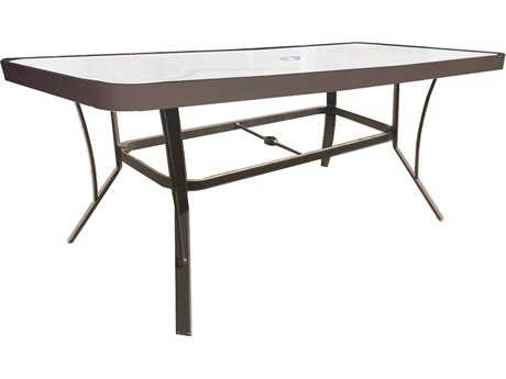 Suncoast Cast Aluminum 60'' x 30'' Rectangular Glass Top Bar Table with Umbrella Hole
