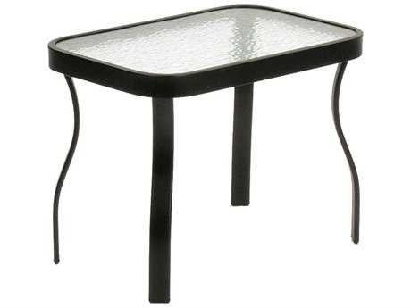 Suncoast Cast Aluminum 24'' x 16'' Rectangular Glass Top End Table PatioLiving