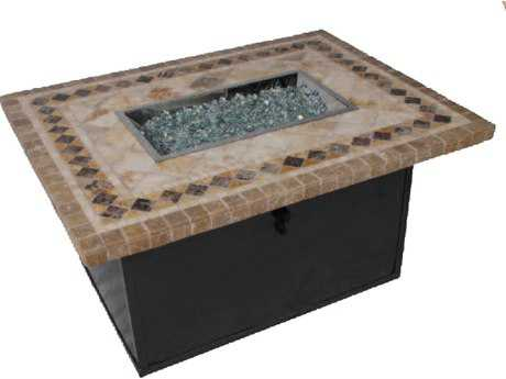 Suncoast Cortez Natura Stone 48 x 36 Rectangular Fire Pit Table