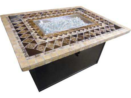 Suncoast Onyx Natural Stone 48 x 36 Rectangular Fire Pit Table