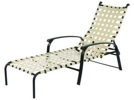 Suncoast Rosetta Strap Aluminum Arm Adjustable Stackable Chaise Lounge