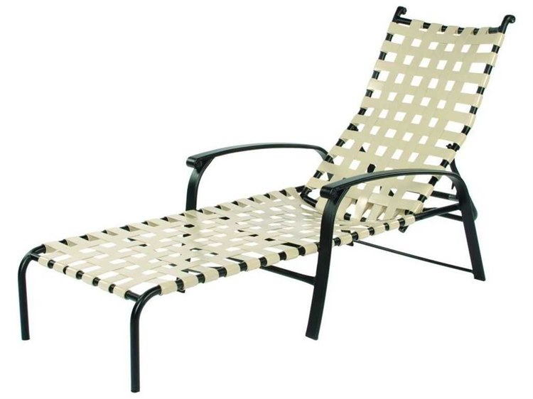 Suncoast rosetta strap aluminum arm adjustable stackable for Chaise furniture commercial