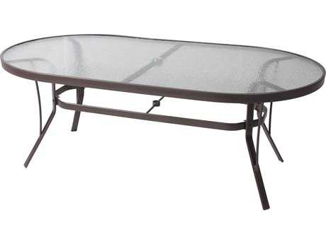 Suncoast Cast Aluminum 76'' x 42'' Oval Glass Top Dining Table PatioLiving