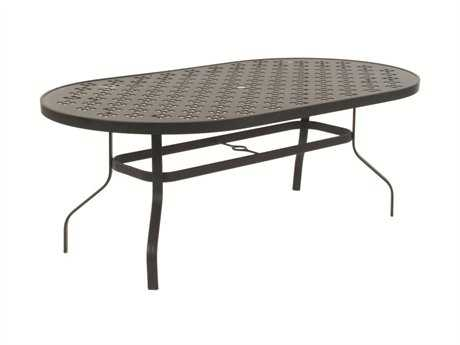 Suncoast Patterned Wave Aluminum 76'' x 42'' Oval Metal Dining Table with Umbrella Hole