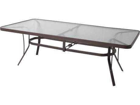 Suncoast Cast Aluminum 84'' x 42'' Oval Glass Top Dining Table with Umbrella Hole