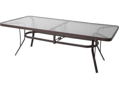 Suncoast Cast Aluminum 84'' x 42'' Rectangular Glass Top Dining Table with Umbrella Hole