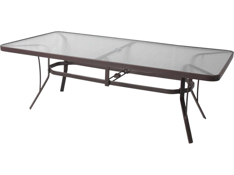 Suncoast Cast Aluminum 84'' x 42'' Rectangular Glass Top Dining Table with Umbrella Hole PatioLiving