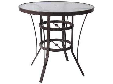 Suncoast Cast Aluminum 42'' Round Glass Top Bar Table
