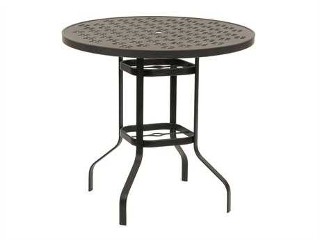 Suncoast Patterned Square Aluminum 42'' Round Metal Bar Table with Umbrella Hole