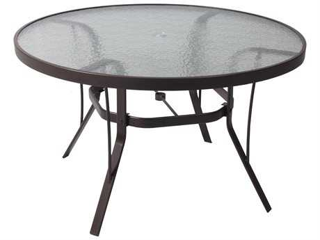 Suncoast Cast Aluminum 42u0027u0027 Round Glass Top Dining Table