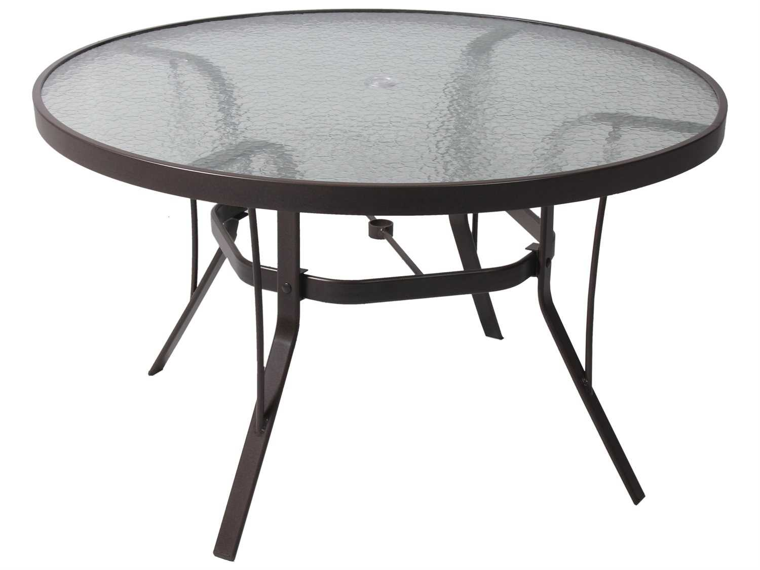 Suncoast Cast Aluminum Round Glass Top Dining Table KD - 60 inch round aluminum patio table