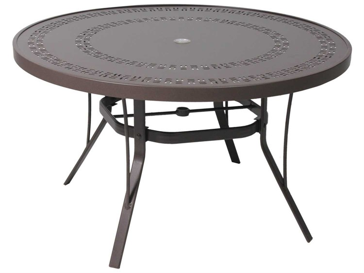 Suncoast Patterned Square Aluminum 42'' Round Dining Table with Umbrella Hole PatioLiving