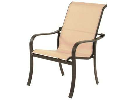 Suncoast Rosetta Sling Cast Aluminum Arm Stackable Dining Chair