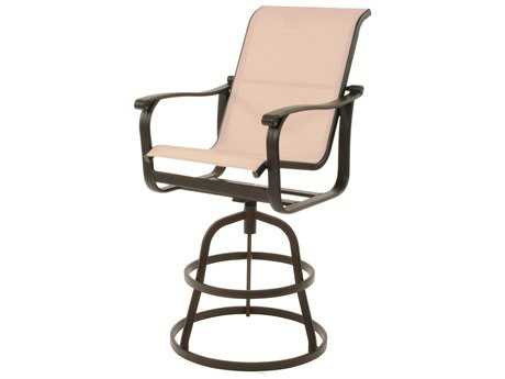 Suncoast Rosetta Sling Cast Aluminum Arm Swivel Bar Stool