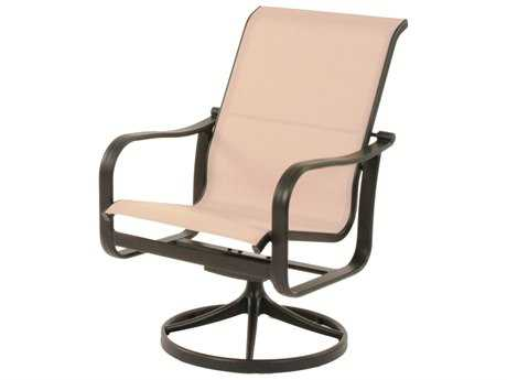 Suncoast Rosetta Sling Cast Aluminum Arm Swivel Rocker Dining Chair PatioLiving