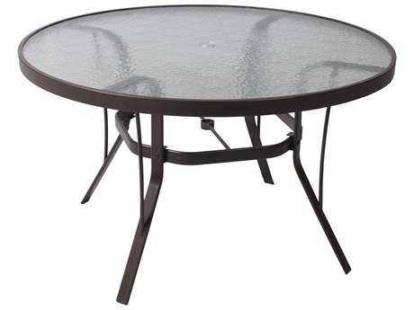 Suncoast Cast Aluminum 48'' Round Glass Top Dining Table PatioLiving