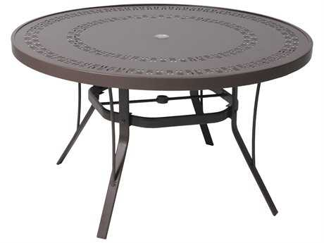 Suncoast Patterned Square Aluminum 48'' Round Metal Dining Table with Umbrella Hole