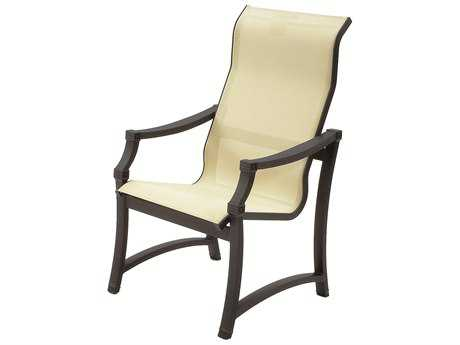 Suncoast Devereaux Sling Cast Aluminum Arm Supreme Dining Chair