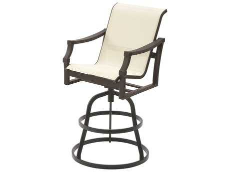 Suncoast Devereaux Sling Cast Aluminum Arm Swivel Counter Stool