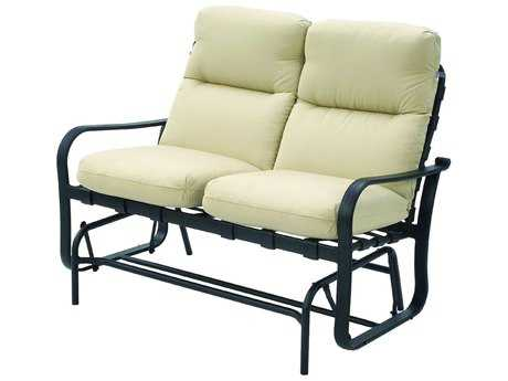 Suncoast Rosetta Cushion Cast Aluminum Glider Loveseat