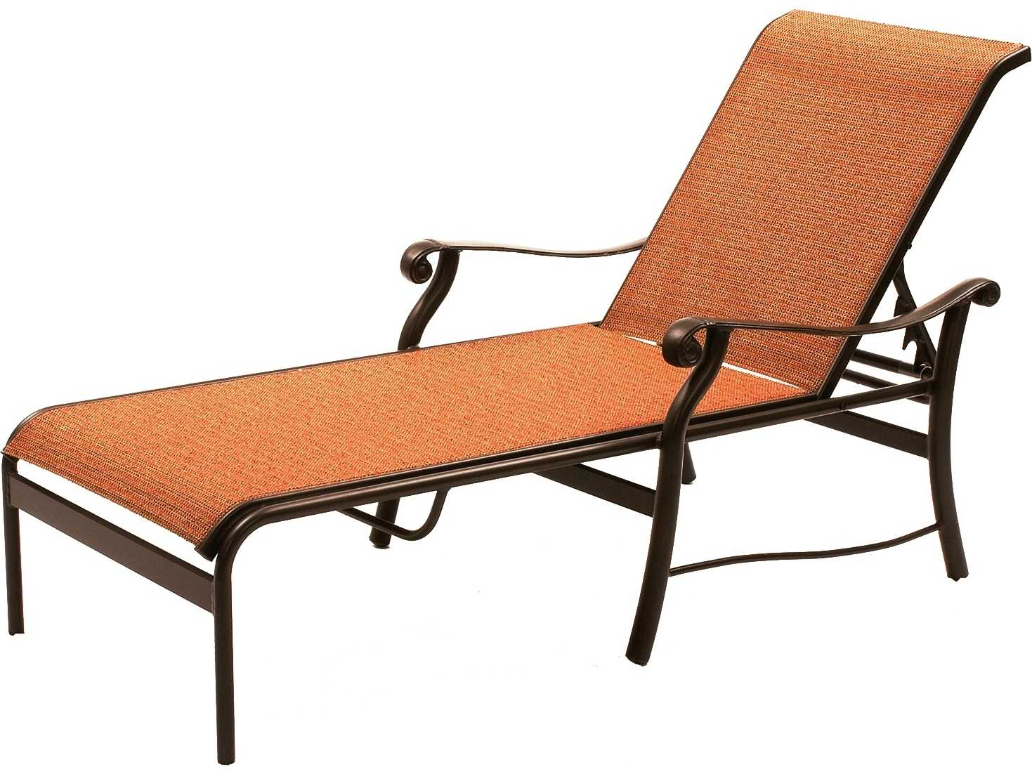 Suncoast rendezvous sling cast aluminum arm chaise 5813 for Chaise longue textilene alu