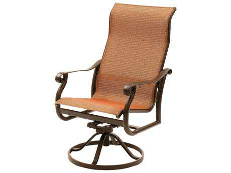 Suncoast Rendezvous Sling Cast Aluminum Arm Swivel Rocker Supreme Dining Chair