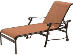 Rendezvous Sling Cast Aluminum Heavy Chaise Lounge with Wheels