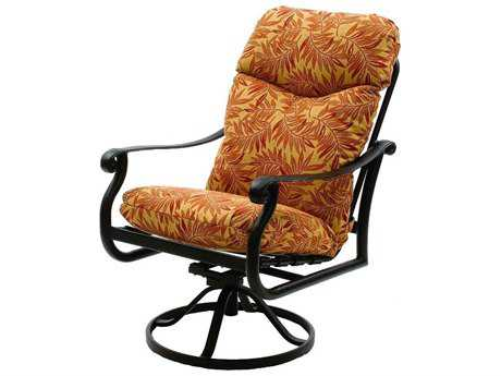 Suncoast Rendezvous Cushion Cast Aluminum Arm Swivel Rocker Dining Chair