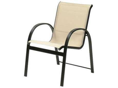Suncoast Maya Sling Cast Aluminum Arm Stackable Dining Chair