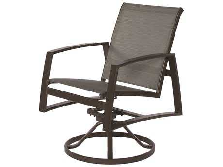 Suncoast Vision Sling Cast Aluminum Arm Swivel Rocker Dining Chair