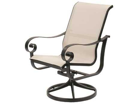 Suncoast Orleans Sling Cast Aluminum Arm Swivel Rocker Dining Chair