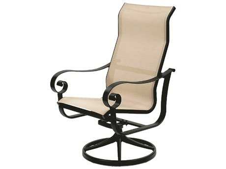 Suncoast Orleans Sling Cast Aluminum Arm Swivel Rocker Supreme Dining Chair