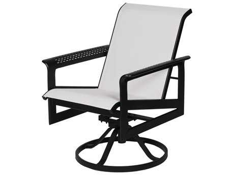 Suncoast South Beach Sling Cast Aluminum Arm Swivel Dining Chair