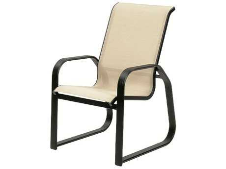 Suncoast Maya Sling Cast Aluminum Arm Sled Dining Chair